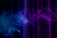 Glitch effect background for poster, cover, concept design, banners, presentations. Abstract background of colored blue, purple  stripes and smoke. The concept vector illustration