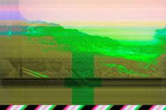 Glitch effect, damaged image stock photos