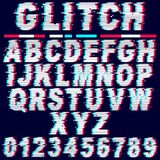 Glitch Effect Fonts Letters and Numbers Vector Royalty Free Stock Image