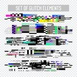 Glitch Effect Geplaatste Elementen TV-Vervorming, Digitaal Lawaai Abstract Ontwerp, Bederfsignaal, de illustratie van het het Sch stock illustratie