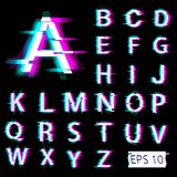 Glitch english alphabet. Distorted letters with broken pixel effect vector illustration