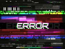 Glitch error template. Video problem concept. Color pixels and lines. Glitched elements and noise on dark background. No. Signal design. Game glitch. Vector stock illustration