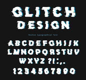 Glitch font design on the black background. abc letters and numbers. Vector Royalty Free Stock Image