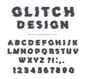 Glitch font design. Isolated on white abc letters and numbers. Royalty Free Stock Image