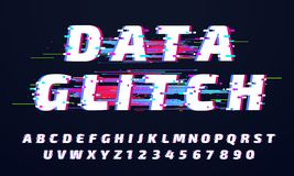 Glitch font. Digital glitched alphabet, game screen letters and broken old display lettering vector set stock illustration