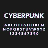 Glitch font. Distorted, malfunction font. Style cyberpunk. Letters and numbers. Vector illustration vector illustration
