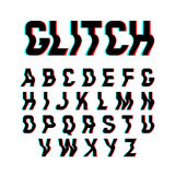 Glitch font. With distortion effect Royalty Free Stock Photos
