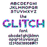 Glitch Font set. Glitch alphabet set. Typographic distortion font. Vector illustration Stock Illustration