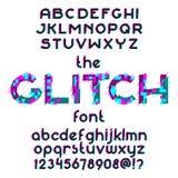 Glitch Font set. Glitch alphabet set. Typographic distortion font. Vector illustration stock illustration