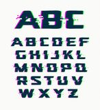 Glitch font, vector isolated abstract symbols with digital noise, modern design alphabet on white background.  stock illustration