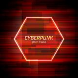 Glitch cyberpunk frame with technology error and neon shape. Glitch frame with technology error and neon hexagon Royalty Free Stock Images