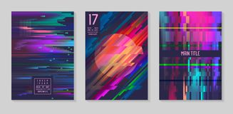 Glitch Futuristic Posters, Covers Set. Hipster Design Compositions for Brochures, Flyers, Placards. Trendy Template. Vector illustration Stock Image