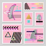 Glitch Futuristic Posters, Covers Set with Tropical Elements. Hipster Design Compositions for Brochures, Flyers, Placard. S. Trendy Template. Vector illustration Stock Photo