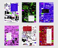 Glitch geplaatste achtergronden Kleurrijk abstract ontwerp met pixellawaai In dekkingsmalplaatjes voor affiches, banners, vlieger stock illustratie