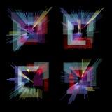 Glitch geplaatste elementen Digitaal de kleuren abstract ontwerp van het pixellawaai Videospelletjeglitch Glitches inzameling gru Royalty-vrije Stock Foto's