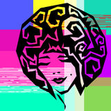 Glitch girl portrait. Glitch style abstract girl portrait Royalty Free Stock Image