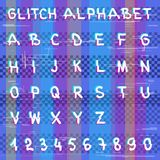 Glitch hacker alphabet. Design letter set template. Colorful distortion multicolor glitched design text font. Striped random anaglyph lines technology symbol Stock Illustration