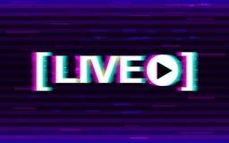 Glitch het levende stromen Vervormd embleem met 3D stereoeffect Het online stroomembleem met glitched elementen en pixel stock afbeeldingen