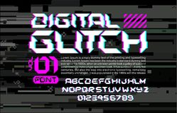 Glitch hi-tech het ruimtedoopvont stileert van letters voorzien op digitale glitch achtergrond cyberpunk ontwerpsamenstelling met Stock Foto