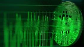 Glitch lawaaivideo van bitcoin BTC de symbolische het nadenken grafiek van het computerscherm Cryptocurrencyproblemen verwante kl stock illustratie