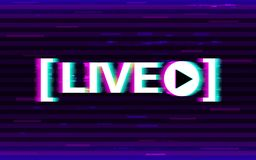 Glitch live streaming. Distorted emblem with 3D stereo effect. Online stream logo with glitched elements and pixels. Video broadcast template. Design for royalty free illustration
