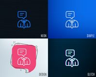Human talking line icon. Conversation sign. Glitch, Neon effect. Human talking line icon. Conversation sign. Communication speech bubble symbol. Trendy flat vector illustration