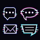 Glitch neon style message box and windows. Royalty Free Illustration