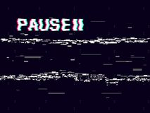Glitch pause with symbol on dark background. Retro VHS backdrop. Abstract white distortions. Video cassette effect. Vector illustration royalty free illustration