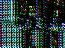 Glitch psychedelische achtergrond Oude TV-het schermfout Het digitale abstracte ontwerp van het pixellawaai Fotoglitch Televisies Royalty-vrije Stock Foto's