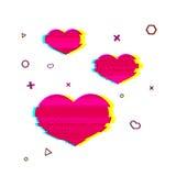 Glitch romantisch hartsymbool Roze hartsymbool met lawaaitextuur Romantische pictogramglitch stijl roze kleur Roze hart stock illustratie