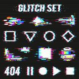 Glitch Set On Black Background stock illustration
