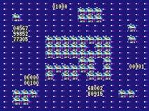 Glitch spel Retro achtergrond Oud videospelletjeontwerp Vervormingen op een violette achtergrond Modern concept Vector Stock Afbeelding