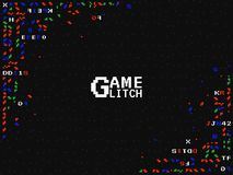 Glitch spel Retro gokkenachtergrond TV-het scherm met vhs effect Oude televisieachtergrond Kleurenpixel en vormen Stock Foto's