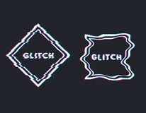 Glitch square banner. Glitch square with text, stereo effect and distortion. Emblem or logo. Trendy glitch line style vector illustration. Distortion and stock illustration