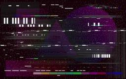 Glitch televisie op zwarte achtergrond Retro VHS-achtergrond Het lawaai en de kleurenvormen van Glitchedlijnen Geen Signaal Vecto stock illustratie