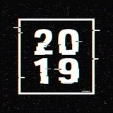 2019 glitch text in a frame. New Year concept. Anaglyph 3D effect. Technological retro background. Vector illustration stock illustration