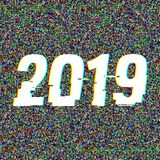2019 glitch text. New Year concept. Anaglyph 3D effect. Technological retro background. Vector illustration. Creative. Web template. Flyer, poster layout stock illustration