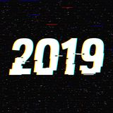 2019 glitch text. New Year concept. Anaglyph 3D effect. Technological retro background. Vector illustration. Creative. Web template. Flyer, poster layout royalty free illustration