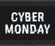 Glitch van de Cybermaandag tekst Anaglyph 3D effect Technologische retro achtergrond Online het winkelen concept Verkoop, elektro Royalty-vrije Stock Foto's