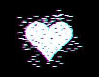 Glitch van het liefdehart effect voor Valentijnskaartendag minnaarsdag embleem vector illustratie