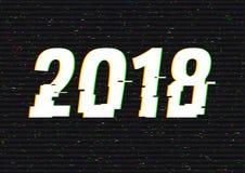 glitch van 2018 tekst Anaglyph 3D effect Technologische retro achtergrond Vector illustratie Het creatieve malplaatje van het Web Royalty-vrije Stock Afbeelding