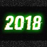 glitch van 2018 tekst Anaglyph 3D effect Technologische retro achtergrond Vector illustratie Het creatieve malplaatje van het Web Stock Afbeelding
