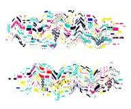 Glitch vervormde elementen Kleurrijk abstract ontwerp met pixellawaai In dekkingsachtergrond voor affiches, banners, vliegers vector illustratie