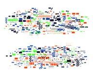 Glitch vervormde elementen ? olorful abstract ontwerp met pixellawaai In dekkingsachtergrond voor affiches, banners, vliegers, vector illustratie