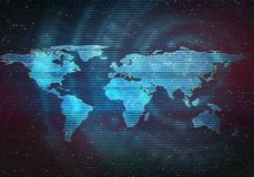 Glitched abstract digital illustration of world map. Abstract digital illustration of world map. Distorted interface screen, signal error, fail. Glitch effect Royalty Free Stock Photos