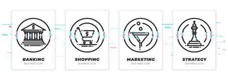 Glitched bank, shopping cart, sales funnel, chess icons set. Business theme glitched black icons set. Scalable vector objects on transparent background. Modern royalty free illustration
