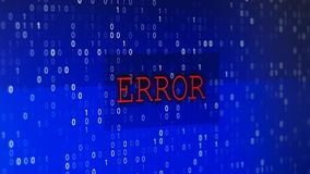 Computer data error. Glitched and flashing computer blue screen shooted with depth of field, with program code and big blinked ERROR title stock illustration