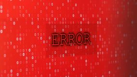 Computer data error. Glitched and flashing computer red screen filmed with depth of field, with program code and big blinked ERROR title stock illustration