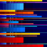 Glitched horizontal stripes. Colorful night lights. Digital signal error. Abstract background for a poster, cover Stock Photo