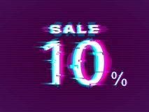 Glitched Sale up to 10 off. Distorted Glitch Style Modern Background royalty free illustration